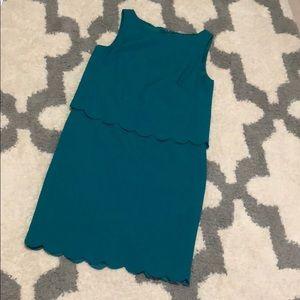 Blue/green scallop dress